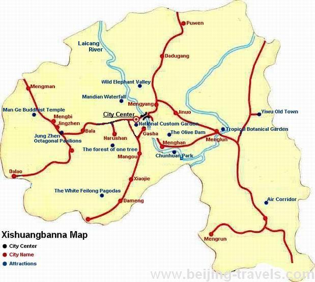 Xishuangbanna Map Yunnan Xishuangbanna Travel Map